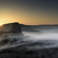 Buy canvas prints of Corfe Castle through the mist  by sharpimage.net