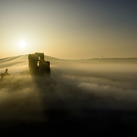 Buy canvas prints of  Corfe Castle through the mist by SharpImage.NET