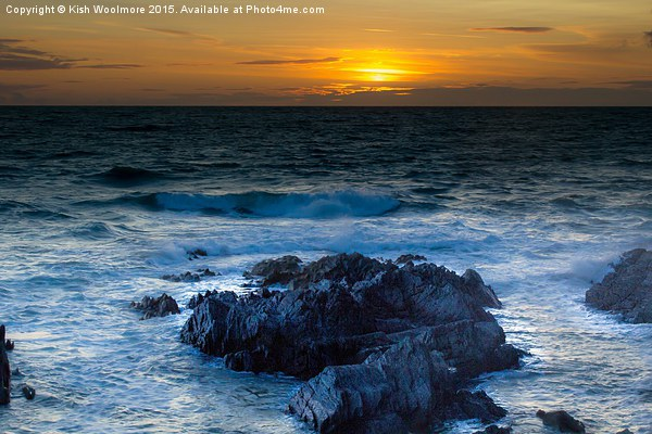Sunset rocky bay Canvas print by Kish Woolmore