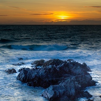 Buy canvas prints of  Sunset rocky bay by Kish Woolmore