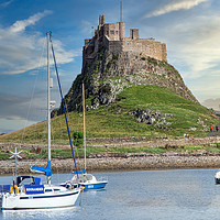 Buy canvas prints of Lindisfarne Castle and Harbour by David Smith