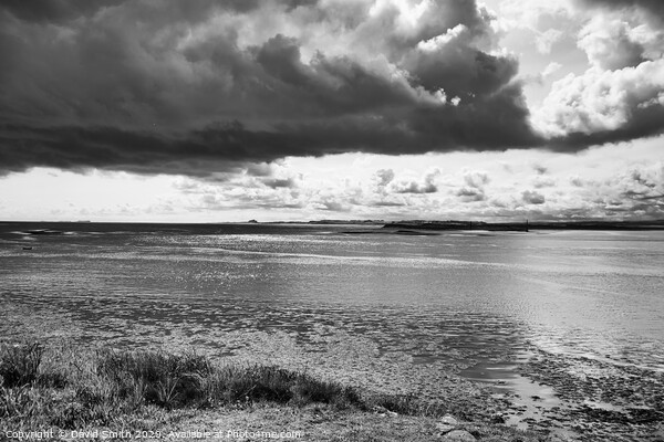 Dramatic Clouds Above Holy Island Framed Mounted Print by David Smith