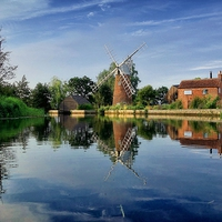 Buy canvas prints of  Hunsett Mill on the River Ant by J G Photography