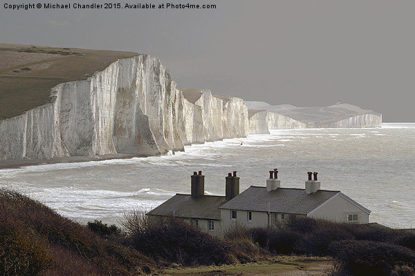 The Coastguard Cottages at Cuckmere Haven, E Suss Canvas print by Michael Chandler
