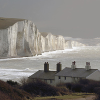 Buy canvas prints of  The Coastguard Cottages at Cuckmere Haven, E Suss by Michael Chandler