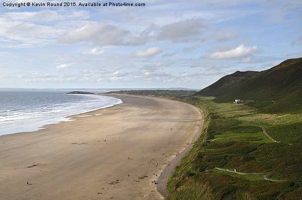 Gower Beach Rhossili Canvas print by Kevin Round