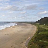 Buy canvas prints of  Gower Beach Rhossili by Kevin Round