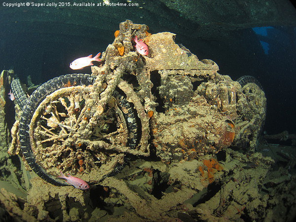 Underwater motor bike cycle Thistlegorm Egypt Canvas print by Super Jolly