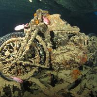 Buy canvas prints of Underwater motor bike cycle Thistlegorm Egypt by Super Jolly
