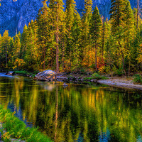 Buy canvas prints of Reflections on the Merced river, Yosemite National by Eyal Nahmias