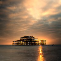 Buy canvas prints of  Brighton Pier Sunset by Len Brook