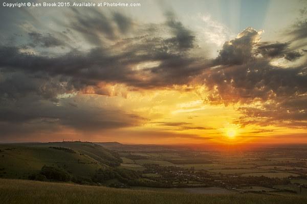 Devil's Dyke Sunset Framed Print by Len Brook