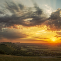 Buy canvas prints of Devil's Dyke Sunset by Len Brook