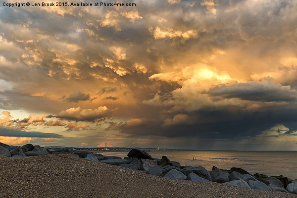 Lancing Beach with dramatic clouds Canvas print by Len Brook