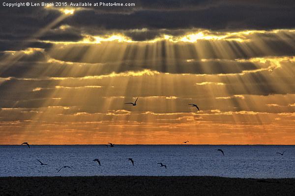 Worthing Beach Sun Rays Canvas print by Len Brook