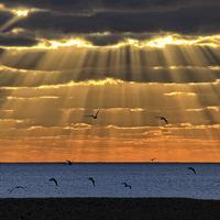 Buy canvas prints of Worthing Beach Sun Rays by Len Brook
