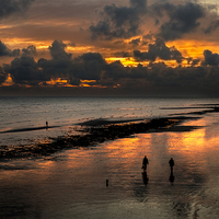Buy canvas prints of Sunset from Worthing Pier by Len Brook