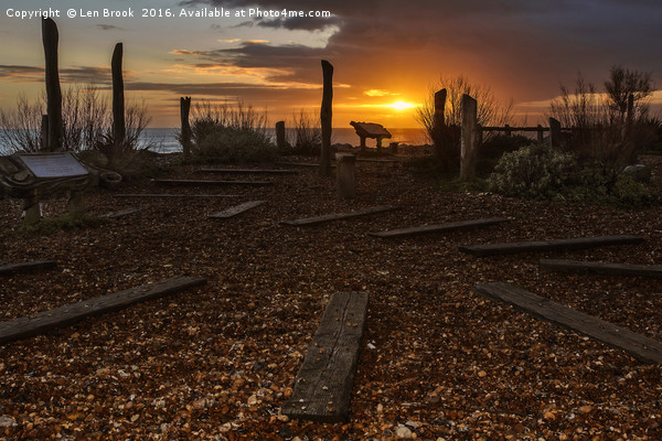 Worthing  Waterwise Garden at Sunset   Canvas print by Len Brook