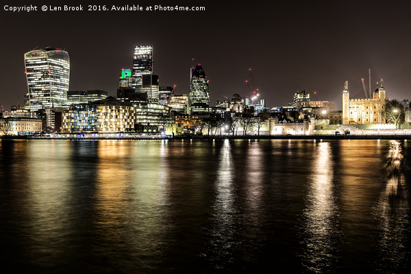 London at Night Canvas print by Len Brook
