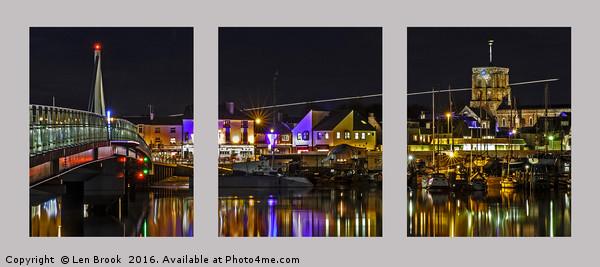 Shoreham Harbour at Night Triptych Canvas print by Len Brook