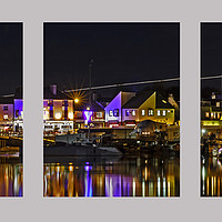 Buy canvas prints of Shoreham Harbour at Night Triptych by Len Brook