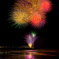 Buy canvas prints of Worthing Beach fireworks 2017 by Len Brook
