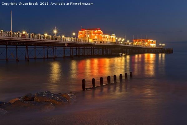 Worthing Pier Night Canvas print by Len Brook