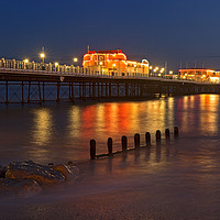 Buy canvas prints of Worthing Pier Night by Len Brook