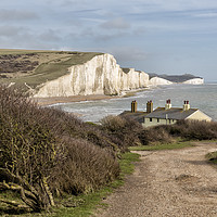 Buy canvas prints of Seven Sisters and the Coastguard Cottages by Len Brook