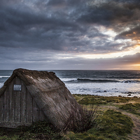 Buy canvas prints of  Freshwater West Seaweed Drying Hut by Meurig Davies