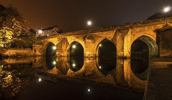 Elvet Bridge in Durham -  Light and reflection Canvas Print by Philip Naylor