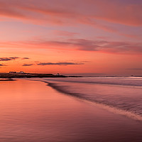 Buy canvas prints of Red Sky at Bamburgh Beach by Philips Photography