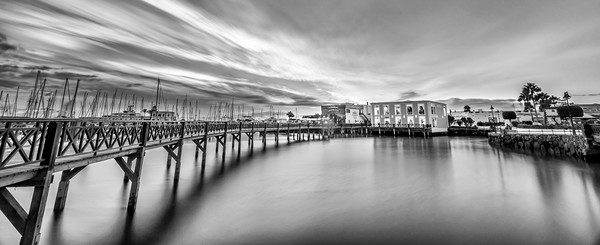 Boardwalk at the Marina Rubicon in Mono Canvas Print by Philips Photography