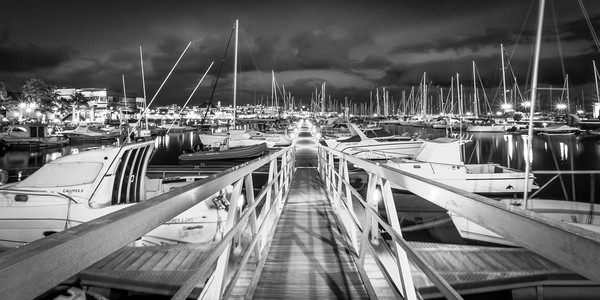 The Pontoon at the Marina Rubicon in Mono Canvas print by Phil Naylor