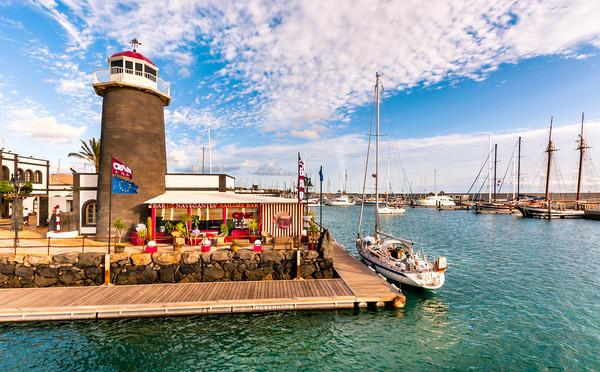 Playa Planca Lighthouse Cafe Canvas print by Phil Naylor