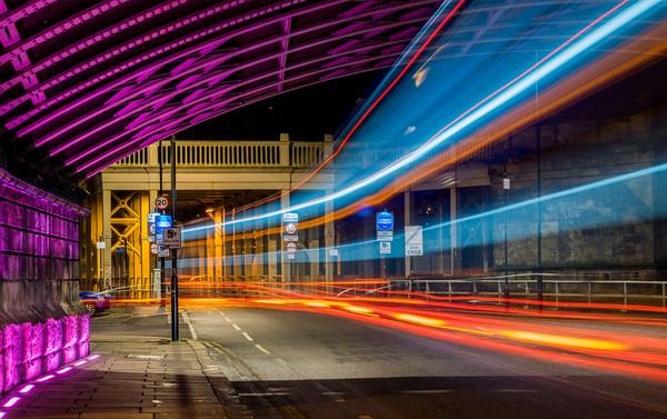 Light Trails High Level Bridge Canvas Print by Phil Naylor