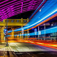 Buy canvas prints of Light Trails High Level Bridge HDR by Naylor's Photography