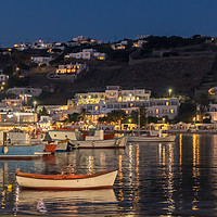 Buy canvas prints of Fishing boats at night in Mykonos town by Naylors Photography