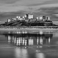 Buy canvas prints of Twilight at Bamburgh Castle  in Mono by Naylor's Photography