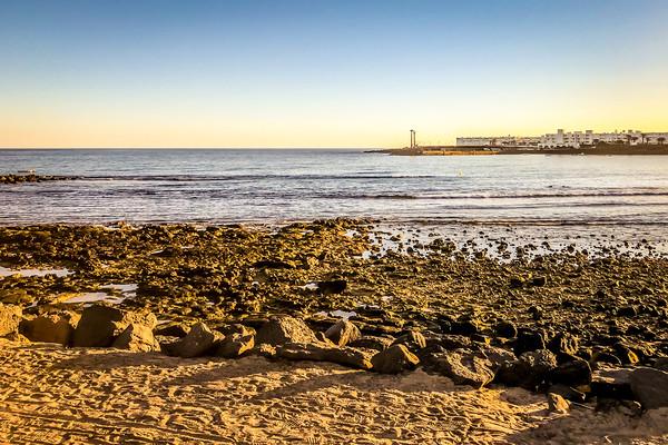 Playa de Las Cucharas in Costa Teguise in Lanzarot Acrylic by Naylor's Photography