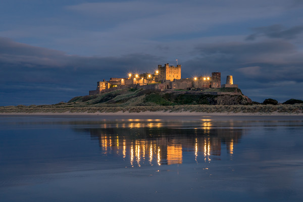 Twilight at beautiful Bamburgh Castle  Canvas print by Naylor's Photography