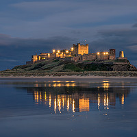 Buy canvas prints of Twilight at beautiful Bamburgh Castle  by Naylor's Photography