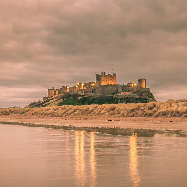 Reflections at Bamburgh Castle Canvas print by Naylor's Photography