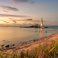 Buy canvas prints of Beautiful landscape at St Mary's lighthouse by Naylor's Photography