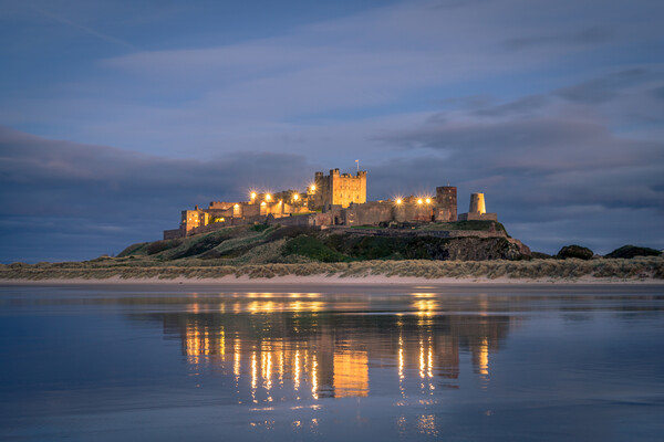 Bamburgh Castle Blue Hour Framed Mounted Print by Naylor's Photography