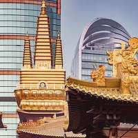Buy canvas prints of Jing'an Temple, Shanghai, China by Colin & Linda McKie
