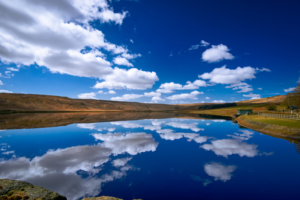 Withens Clough Reservoir...Doubletake Canvas Print by Robin Cunningham