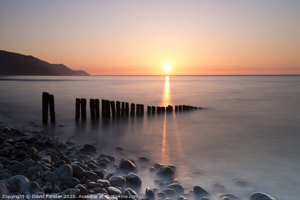 Sunset Over Porlock Bay From Bossington Beach, Porlock, Somerset, UK Canvas Print by David Forster