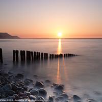 Buy canvas prints of Sunset Over Porlock Bay From Bossington Beach, Porlock, Somerset, UK by David Forster
