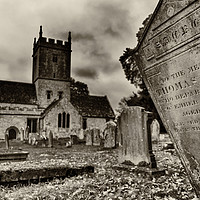 Buy canvas prints of St Eadburgha`s church & graveyard  by Phil Reay